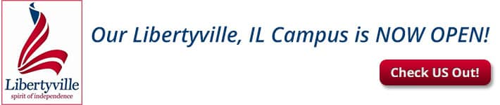 Image showing Liberyville Illinois' logo. Text says Our Libertyville, Illinois campus is now open! Check us out!