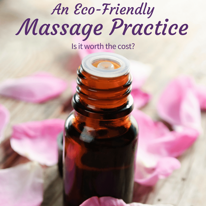 Close-up of an aromatherapy bottle surrounded by flower petals. The text on the image says; an Eco-friendly massage practice - is it worth the cost?
